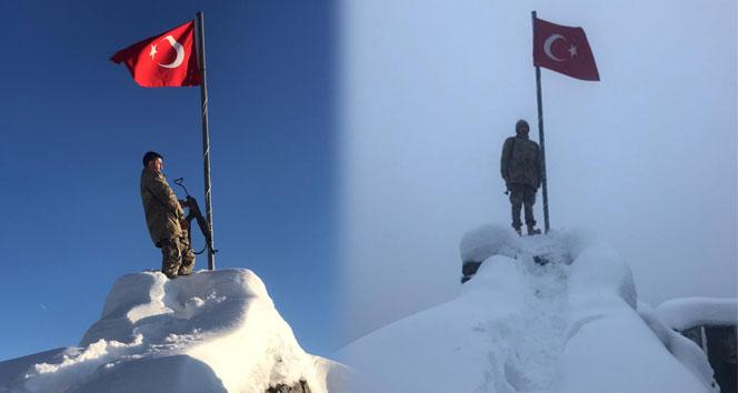 Güvenlik korucuları sınırda bayrak nöbetinde