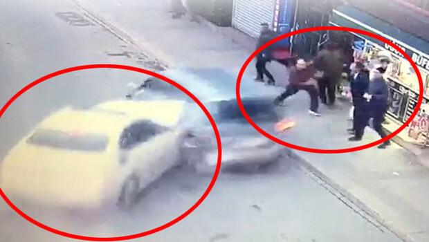 İstanbul'da korkunç kaza! Makas atarak geldi, insanların arasına daldı