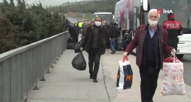 Silivri cezaevinden tahliye edilen vatandaşlar otobüsler ile taşındı
