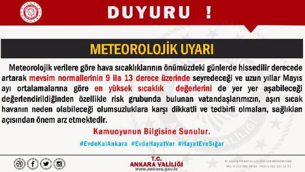 Ankara Valiliği'nden 'sıcak hava' uyarısı