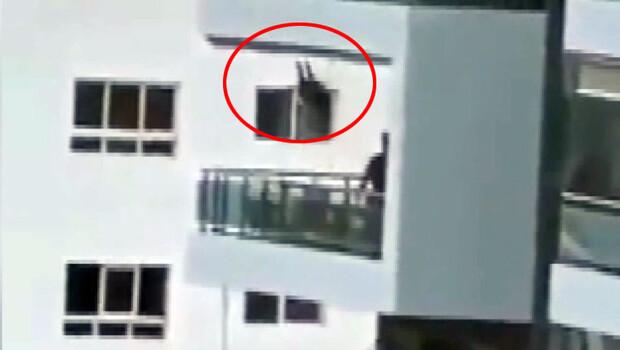 İnanılmaz görüntü! 8. katta balkona salıncak kurdu