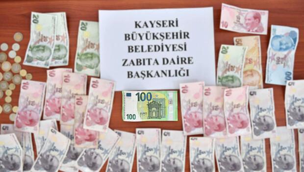 Kayseri'de dilencinin üzerinden 100 EURO çıktı