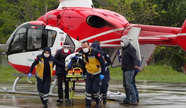 Kazada yaralanan TIR sürücüsünün imdadına ambulans helikopter yetişti