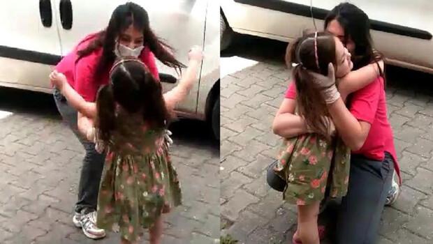 Koronavirüsü yendi, kızıyla kucaklaştı
